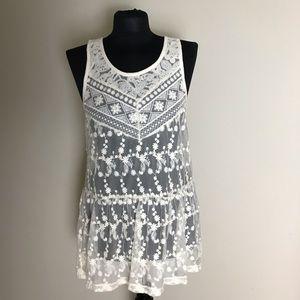 Express Ivory Lace Tunic NWT